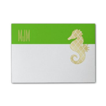 Beach Themed Preppy Beach Tropical Seahorse Green Post-it Notes