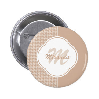 Preppy Beige and Tan Houndstooth Monogram and Name 2 Inch Round Button