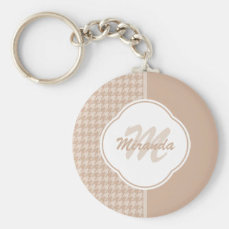 Preppy Beige and Tan Houndstooth Monogram and Name Keychain
