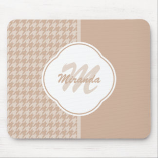 Preppy Beige and Tan Houndstooth Monogram and Name Mouse Pad