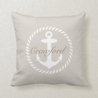 Preppy Beige & White Nautical Anchor Monogram Throw Pillow