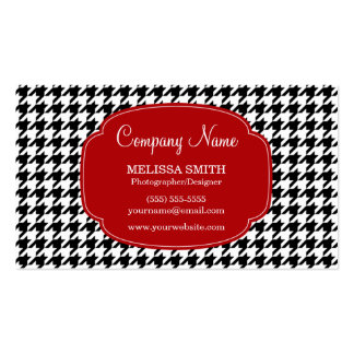 Preppy Black and Red Houndstooth Pattern Business Cards