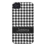 Preppy Black and White Houndstooth Personalized iPhone 4 Case