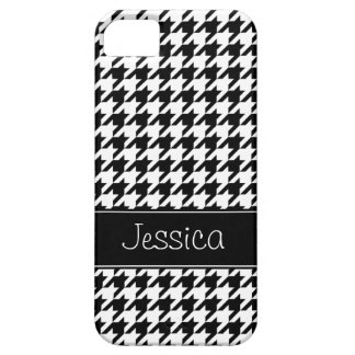 Preppy Black and White Houndstooth Personalized iPhone 5 Cases