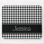 """Preppy Black and White Houndstooth Personalized Mouse Pad<br><div class=""""desc"""">A trendy black and white houndstooth pattern is featured on this custom mousepad. Modern and cute -- Easily personalize with your name!</div>"""