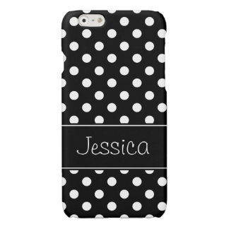 Preppy Black and White Polka Dots Personalized Glossy iPhone 6 Case