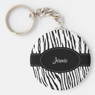 Preppy Black and White Tiger Stripes With Name Basic Round Button Keychain