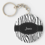 Preppy Black and White Tiger Stripes With Name Keychain