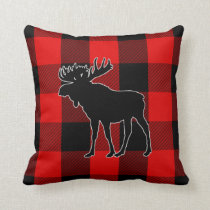 Preppy Black Red Buffalo Check | Moose Throw Pillow