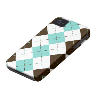 Preppy Blue and Brown Checker Patterns iPhone 4 Case-Mate Cases