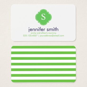 heartlocked Preppy Blue and Green Monogrammed Business Card