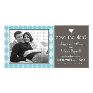 Preppy Blue Argyle Save the Date Announcement