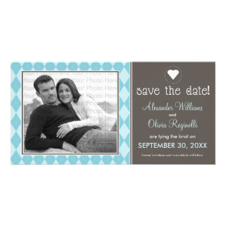 Preppy Blue Argyle Save the Date Announcement Photo Card