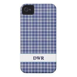 Preppy Blue & White plaid pattern iPhone 4/4s case