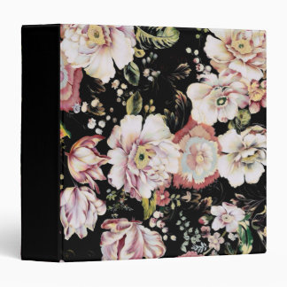 Preppy bohemian country shabby chic black floral 3 ring binder