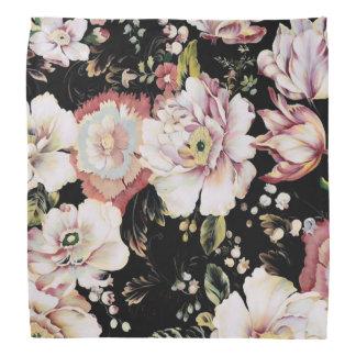 Preppy bohemian country shabby chic black floral bandana