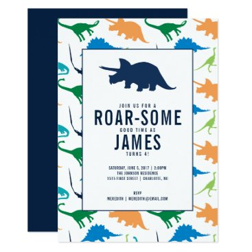 MCPaperShop Preppy Boy Dinosaur Birthday Party Invitation