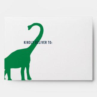 Preppy Boy Dinosaur Birthday Party Lined Envelope