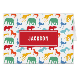 Preppy Boy Safari Animal Personalize Thank You Card
