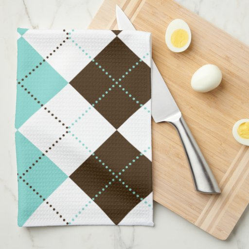 Preppy Brown And Teal Blue Checker Patterns Towel Zazzle