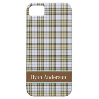Preppy Brown & Cream plaid pattern iPhone 5 case