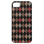 Preppy Brown Red and Black Argyle Pattern iPhone 5 Cases