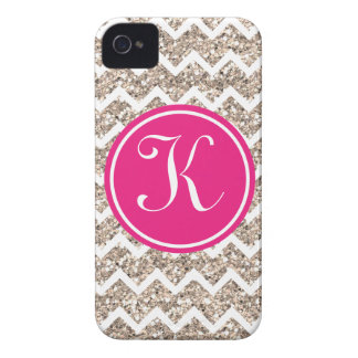 Preppy Chevron in Gold Glitter iPhone 4 Cover