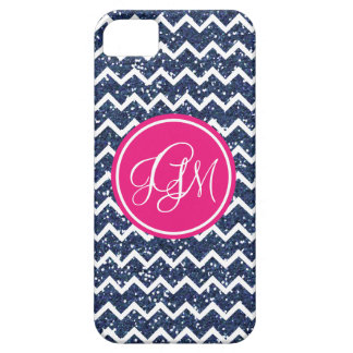 Preppy Chevron in Navy Glitter iPhone 5 Covers