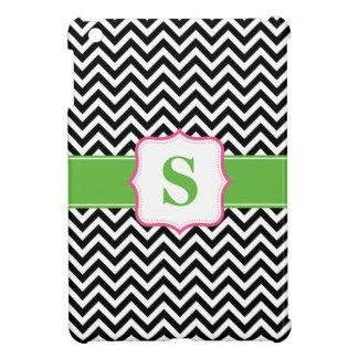 Preppy Chevron Pink Green Black Monogram Case For The iPad Mini