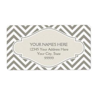 Preppy Chevron Stripe Modern Monogrammed Name Label