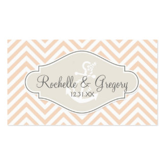 Preppy Chevron Stripe Modern Nautical Anchor Double-Sided Standard Business Cards (Pack Of 100)