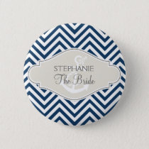 Preppy Chevron Stripe Modern Nautical Anchor Button