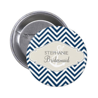 Preppy Chevron Stripe Modern Nautical Anchor Pinback Button