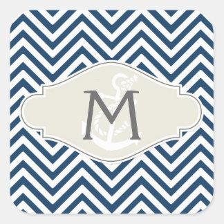 Preppy Chevron Stripe Modern Nautical Anchor Square Sticker