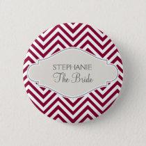 Preppy Chevron Stripe Modern Red White Bride Name Pinback Button
