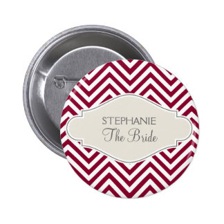 Preppy Chevron Stripe Modern Red White Bride Name Pinback Button