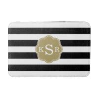 Preppy Chic | Black & White Stripes Custom Colors Bathroom Mat