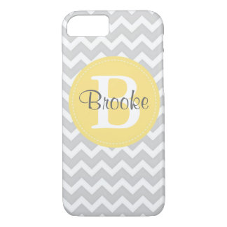 Preppy Chic Chevron Gray and Yellow iPhone 7 case
