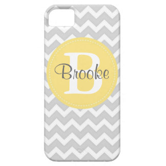 Preppy Chic Chevron Gray and Yellow iPhone Case