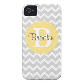 Preppy Chic Chevron Gray and Yellow iPhone Case