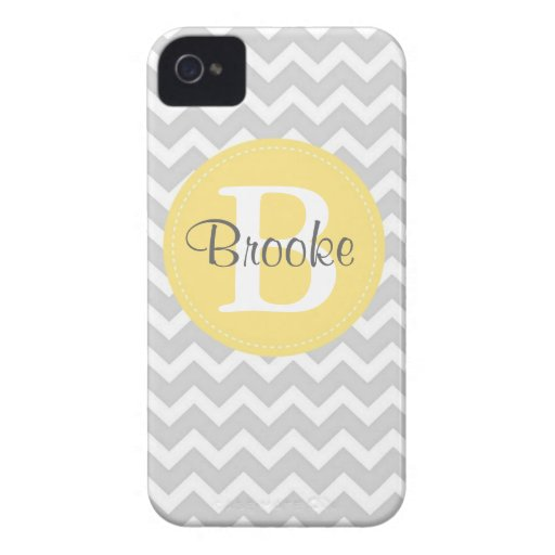 Preppy Chic Chevron Gray and Yellow iPhone Case iPhone 4 Cases
