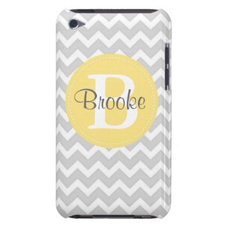 Preppy Chic Chevron Gray and Yellow iPod Case iPod Touch Cover