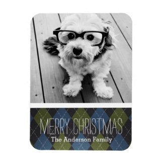 Preppy Christmas Plaid with One Photo Magnet