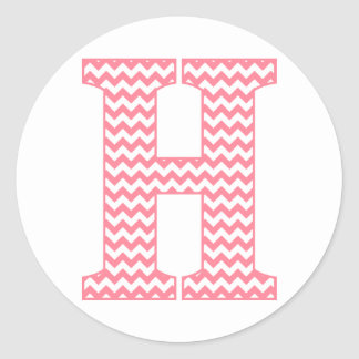 Preppy Classic Pink Chevon Letter H Monogram Classic Round Sticker