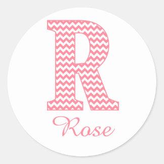 Preppy Classic Pink Chevon Letter R Monogram Classic Round Sticker