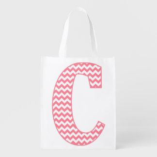 Preppy Classic Pink Chevron Letter C Monogram Grocery Bag