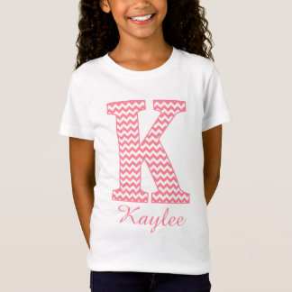 Preppy Classic Pink Chevron Letter K Monogram T-Shirt