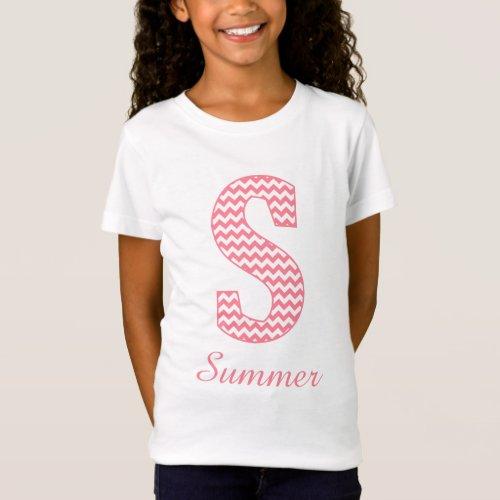 Preppy Classic Pink Chevron Letter S Monogram T_Shirt