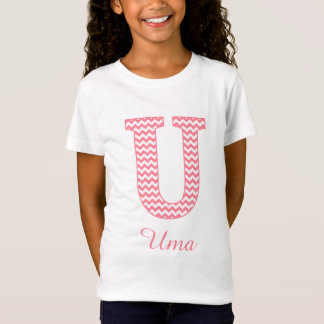 Preppy Classic Pink Chevron Letter U Monogram T-Shirt