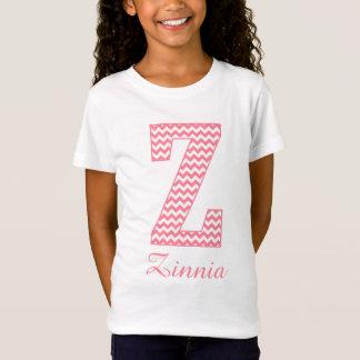 Preppy Classic Pink Chevron Letter Z Monogram T-Shirt